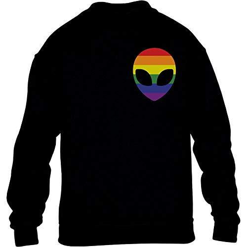 LGBT Flagge Mini Rainbow Flag Gay Alien Seitentasche Kinder Pullover Sweatshirt XL 152/164 Schwarz
