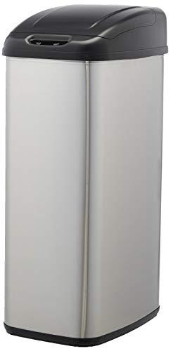 AmazonBasics Pattumiera acciaio inox automatica per piccoli spazi da 50 litri