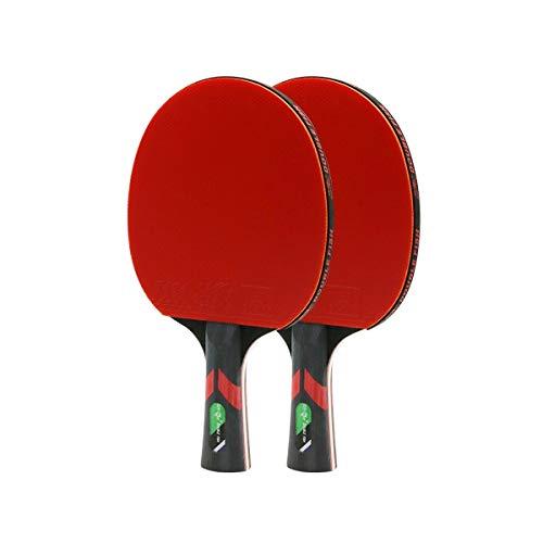 YXHUI Tischtennisschläger Horizontal Shot Pen-Hold 6-Sterne 2er-Pack Tischtennisball Double Shot Wettkampftraining, hohe Qualität Good Mood, Good Life (Design : C)
