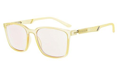 Eyekepper Blaulicht blockierende Brillen Bernstein getönt Computer Brille großen Rahmen mit speziellen Frühling Scharniere Männer Frauen (Gelb, 0.00)