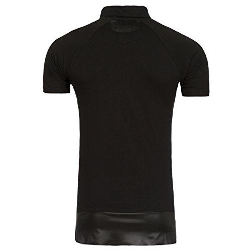 Young & Rich Longline Polo T-Shirt Herren Extralang Kunstleder Long Tail Lederoptik Schwarz
