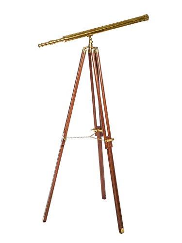 Großes Fernrohr Fernglas Teleskop Messing mit Holz Stativ 150cm antik Stil - Antikes Messing Stativ