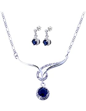 Styleziel Damen Schmuckset Halskette Ohrstecker Rund 925 Silber pl Kristalle mit blauem Hauptstein 46cm lang 1822