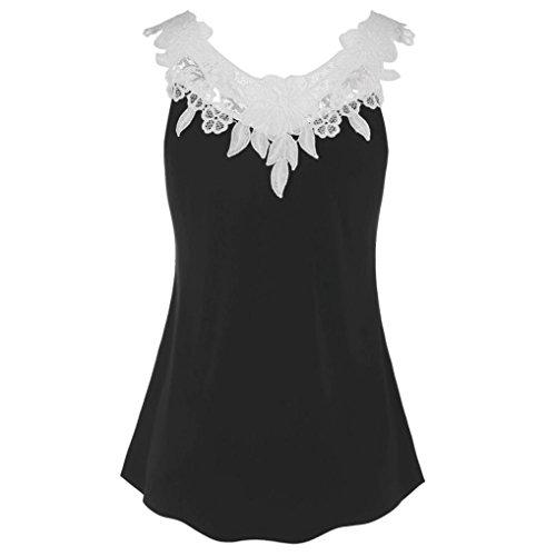 VEMOW Sommer beiläufige Frauen-T-Shirts, Elegante Kühle Damen-Mädchen-beiläufige Tägliche Partei-Strand-Lose Spitze Häkeln Applique-Trägershirt-Bluse Pulli(Schwarz 2, EU-44/CN-L) (Seide Baumwolle Häkeln Top)