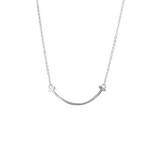 Hioowiu 925 Sterling Silber Halskette weibliches Lächeln Gesicht Anhänger einfache großzügige Schlüsselbein Kette