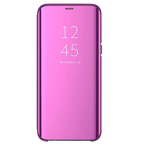 Funda para Xiaomi Redmi 6/6A Suave + Duro Carcasa Espejo Mirror Flip Caso Ultra Delgada Shock Caja del Teléfono Translucent Window View (Rosa roja, Xiaomi Redmi 6A)