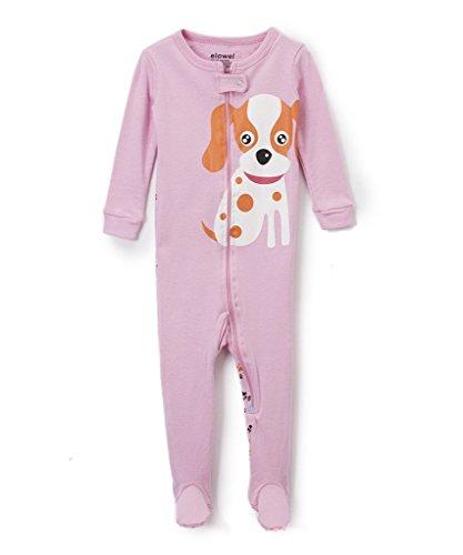 Elowel Baby madchen Grobe 68 - 110 Einteiler Strampler Schlafanzug Schlafoverall Hund 100% Baumwolle 92/2 Jahre (Pyjama Kleidung Hund Pjs)