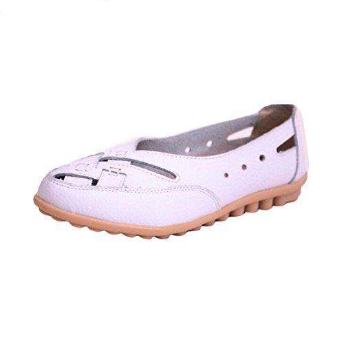 YAANCUN Femme PU Cuir Couleur Unie Mocassins Loisirs Creux-dehors Confort Chaussures Plates Loafers En Chaussures De Conduite Blanc