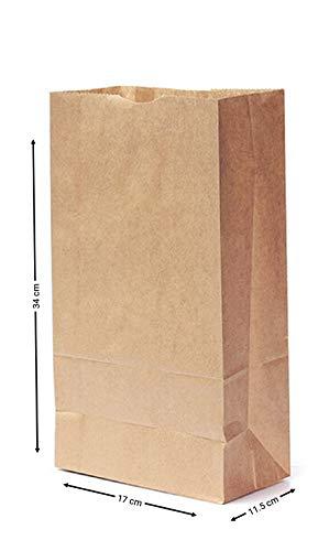 Pack de 30 sacs en papier Kraft solide à fond plat Sabco - Surprises - Cadeaux - Pique-nique - Deli - Friandises, marron, 7 x 4.5 x 14\