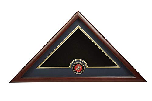 US Marine Corps Internment American Burial Flag Display Case mit offizieller Marine Corps Medaillon ABC ()