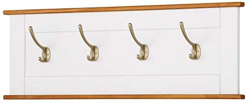 Loft24 Regal Garderobenleiste Wandgarderobe 4 Haken Garderobe Flur Hakenleiste Landhaus Kiefer 90 x 3 x 30 cm (weiß Honig)