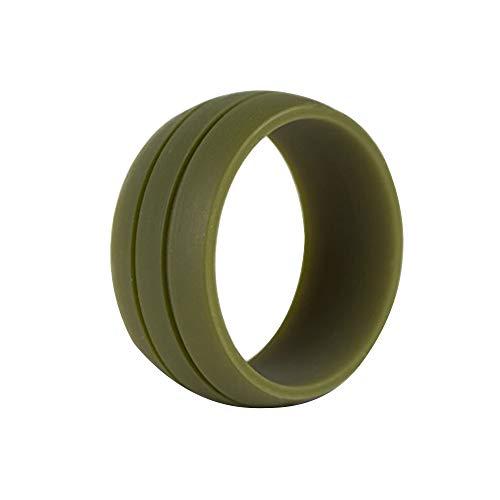 MYVIYSENY Mode silikon Hochzeit Ring für Frauen männer Gummi Sport Bands weich bequem | Armeegrün Größe 9 (Gummi Ringe Hochzeit Für Männer)