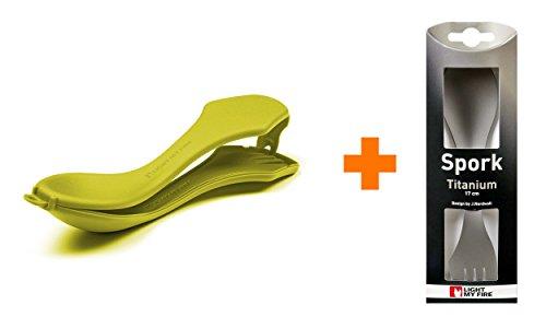 Light My Fire Cuillère-fourchette solide en titane avec récipient de transport, citron vert