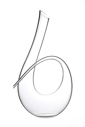 Weinkaraffe mit gedrehtem Horn, bleifrei, Kristall, für Weindekanter, hält 90 oz. (1 Liter)...
