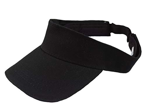 GO HEAVY Herren Damen Sonnenblenden Tennis Golf Cap Fitness Gym Sport Visier Größenverstellbar Klettverschluss | Schwarz One Size