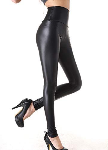 FITTOO Damen Kunstleder High Waist Leggings Skinny PU Leder Hose Leder-Optik Strumpfhosen Treggings Schwarz Matt L