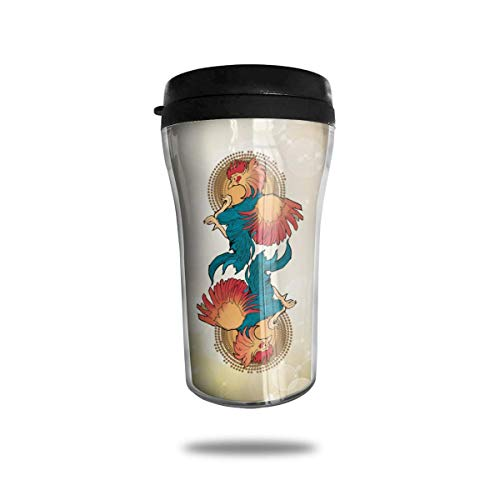 Bgejkos Rooster Cock 3 8.45oz Coffee Mugs Birthday Gifts Insulated Tea Cup Leakproof