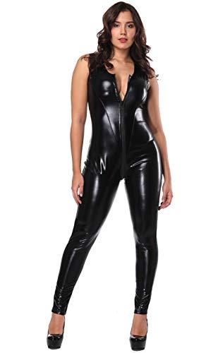 (GZxiang Schwarz Sexy Frau Damen Sleeveless Overall Jumpsuit Erotische Leder Sexy mit Reißverschluß Nachthemd Mit Offenem SchrittBodysuit,XXL)