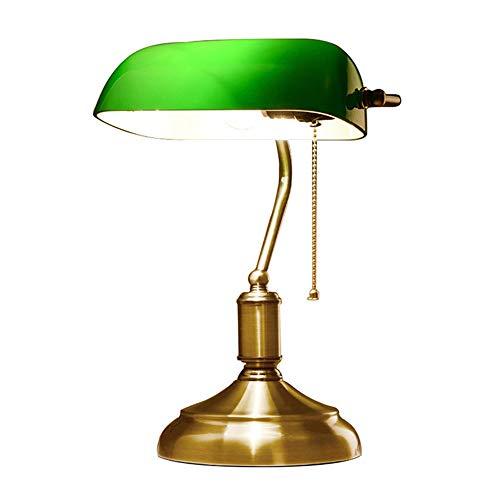 Glas Traditionellen Schatten (Retro-antike Banker Schreibtischlampe/traditionelle Lesung Tischlampe mit grünem Glas Schatten und Metall Basis (ohne Glühbirne))
