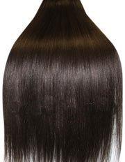 Clip-In-Extensions für komplette Haarverlängerung - hochwertiges Remy-Echthaar - 55 cm - Schwarzbraun - 2 22 In Extensions Echthaar
