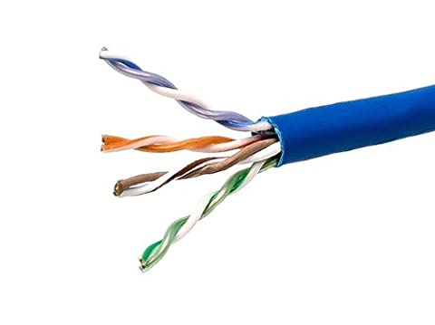 1000FT 24AWG Cat5e 350MHz UTP Solid, Plenum (CMP), Bulk Ethernet Bare Copper Cable - Blue