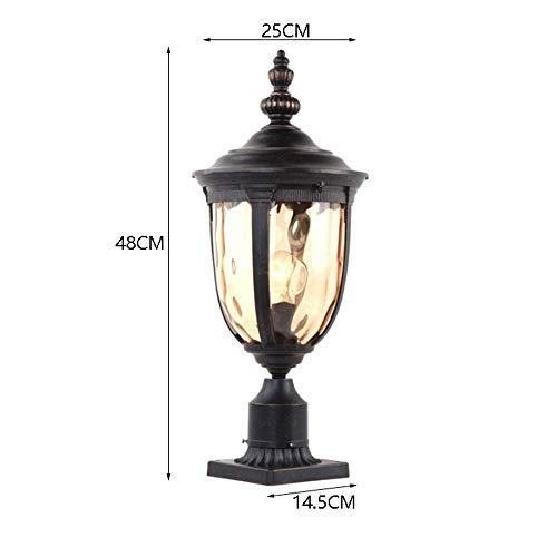 Xungel Vintage schwarz Outdoor IP65 wasserdicht Landschaft Spalte Lampe Retro Regen Post Licht außen Aluminium Veranda Glas Laterne Patio Garten Villa Tür Säule Tisch Licht Beleuchtung (Größe: S) -