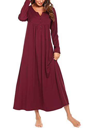 Skione Nachthemden Schwangere Nachtwäsche Stillnachthemd Damen Lang arm Winter Herbst warm Umstandskleid Pyjama rot L