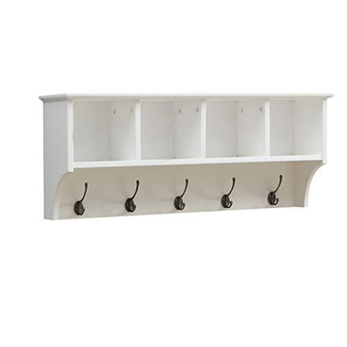 Hängende Entryway Regal an der Wand befestigte Kleiderständer-Speicher-Kabinette mit Haken Holz Modern Display Home Decor Möbel gibt es 65cm, 85cm zur Auswahl (weiß) ( größe : 85cm ) - Holz-speicher-kabinette