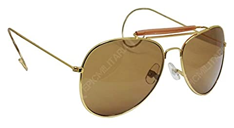US Vintage Top Gun Pilot Style Aviator Sunglasses with Mirrored, Brown or Green Lenses (Brown)