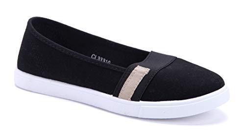 Schuhtempel24 Damen Schuhe Sportliche Ballerinas schwarz flach schlupf