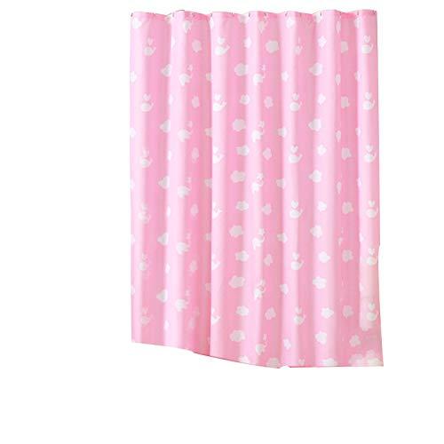 Qsy curtain Punch Duschvorhang Cartoon Wal Wolke rosa Bad Vorhang, 150 x 200 hoch + Haken, ()