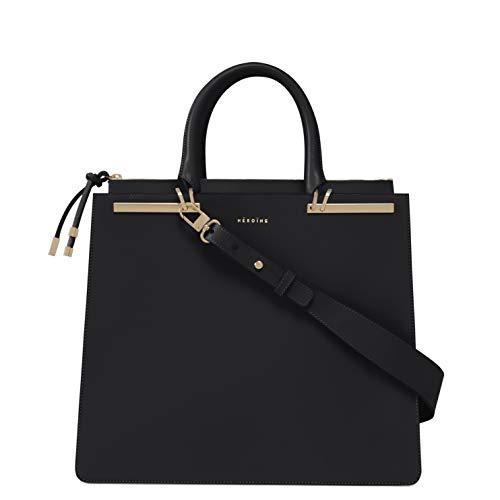 Maison Héroïne Sophie 13 Zoll | Laptop Tasche | Crossbody Tasche | Handtasche | Damen | Umhängetasche | Leder | Schultertasche | Gepolstertes Laptop Fach (Schwarz/Dunkelgrau Gold) -