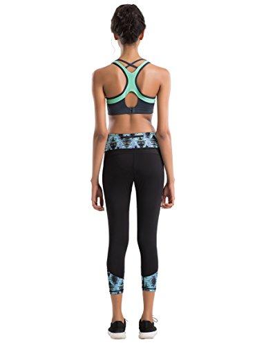 Yvette Damen Farbblock Starker Halt Ringerrücken Sport-BH Joggen Bra Für Yoga Fitness-Training Mit Einlagen Ohne Bügel HM0030005,Grün/Grau,75A