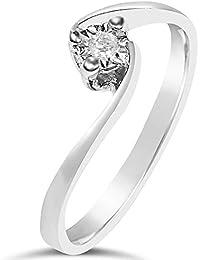 Anillo Mujer Compromiso Oro y Diamantes - Oro Blanco 9 Quilates 375 ♥ Diamantes 0.02 Quilates