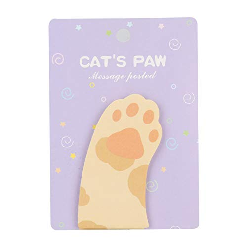 Caresmollett Impeccabile 1 PC Cute Miao Cat Paw Memo Notebook Memo Pad Self -Adhesive Sticky Notes Bookmark Promotional Gift Stationery(None Flower claw purple card)