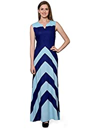 6252f8966c Patrorna Blended Women s Empire Nighty Night Dress Gown in Ocean and Royal  Blue (Size S