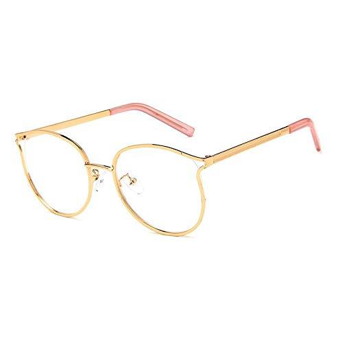 YMTP Übergroße Klare Gläser Rahmen Männer Frauen Retro Metallrahmen Transparente Brillen Spektakel Optische Bilder, Gold