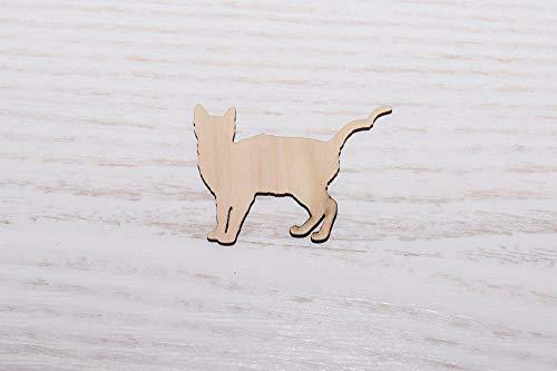 10er Set Holz Katze Sperrholz Laser Cut Holz Ausschnitt Sperrholz Figuren Form Holz Ornamente Basteln Deko Decoupage unlackiert - 0333, 7cm