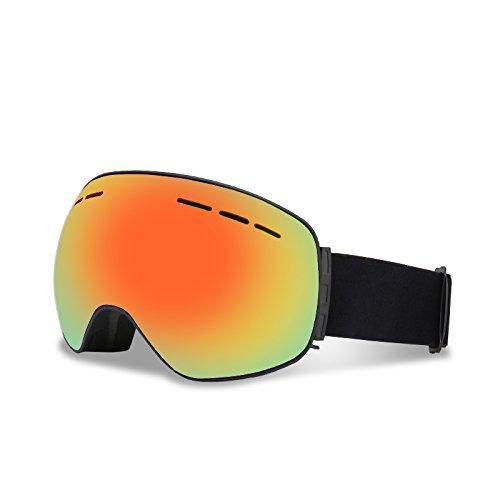 Occhiali da sci, lenti intercambiabili magnetiche sci snowboard anti-fog 100% uv400 protezione occhiali da sci per uomo e donna (cornice nera + lente d'oro)