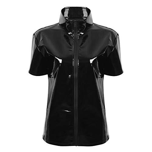 Agoky Unisex Lack Leder Top Kurzarm T Shirt Stehkragen Hemd mit Reisverschluss Sexy Metallic Oberteile Clubwear Schwarz XL