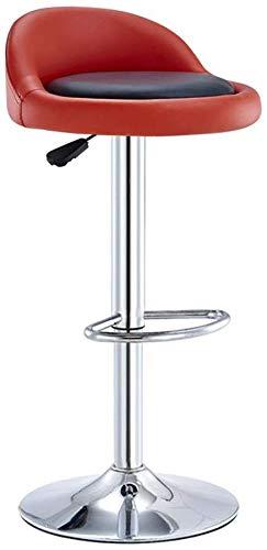 Beakjiful Stuhl Hochhocker Barhocker Stuhl mit schwarzem PU-Sitz Fußstütze Verstellbarer Gaslift, Höhe 60-80 cm für die Küche Theke Barhocker Verchromte Platte Sockel max.Laden Sie 150 kg