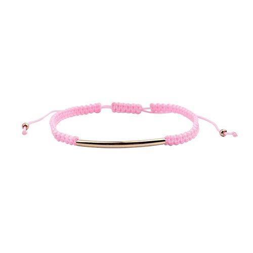 DMUEZW Handgemachte geflochtene Seil Armband für Frauen Gold Kupferrohr rot Balck grün grau rosa Weben Thread Armband