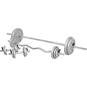 GORILLA SPORTS® Hantelset 108 kg Guss 30/31 mm – Langhantel, SZ-Curlstange, Kurzhanteln, Gewichte und Federverschlüsse/Sternverschlüsse