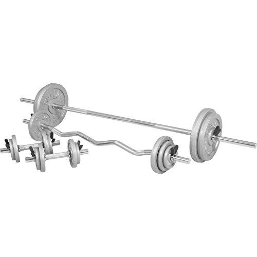 GORILLA SPORTS® Hantelset 108 kg Guss 30/31 mm - Langhantel, SZ-Curlstange, Kurzhanteln, Gewichte und Federverschlüsse