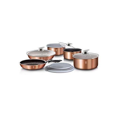 batería de ollas y sartenes Metallic Line con Mango Desmontable 12unidades Color Cobre