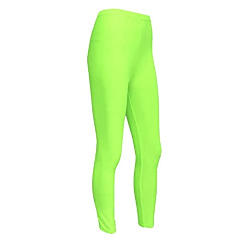 Girls Kids Neon Lycra Fluorescent Dance Casual Footless Leggings Age 7-12 Years (11-12 Years,