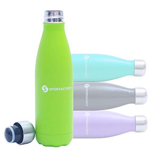 Sportastisch Top¹ Trinkflasche Vacu Drink (500ml) mit Schraubverschluss | GRÜN | Premium Edelstahlflasche mit doppelwandigem Vakuum für Sport, Schule & Outdoor | Bis zu 3 Jahre Garantie²