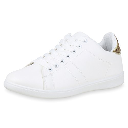 SCARPE VITA Damen Sneaker Low Glitzer Strass Leder-Optik Freizeit Skater Schuhe 159552 Weiss Gold Glitzer 37 (Skater-schuhe Für Frauen)