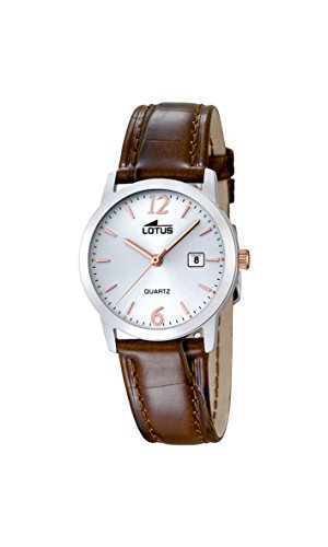 Lotus Women's Quartz Watch with White Dial Analogue Display and Brown Leather Strap 18240/4
