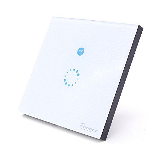 Aihasd Sonoff Touch Wifi Intelligente 1 Weg Wandschalter Luxus LED-Licht-Glas-Verkleidung Telefon App Fernbedienung für smart home (Europäische Verordnungen) 4 Way Light Switch
